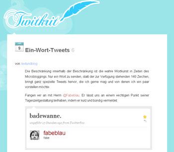 Ein-Wort-Tweets auf Twitkrit