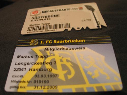 1. FC Saarbrücken-Mitgliedsausweis & St. Pauli-Dauerkarte