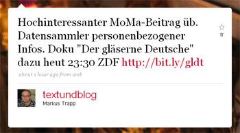 Der gläserne Deusche - mein TV-Tipp-Tweet in der Früh
