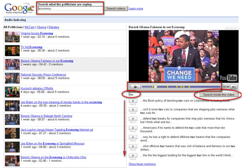 Google Audioindexierung: Beispiel: 'Tax'-Erwähnugn in Obama-Rede