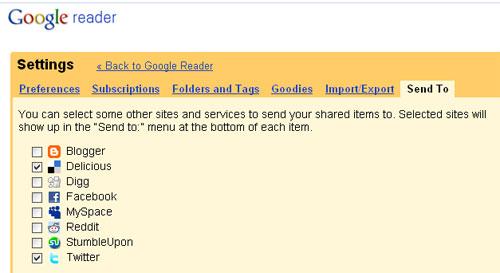Einstellungen im Google Reader: Settings - Send to