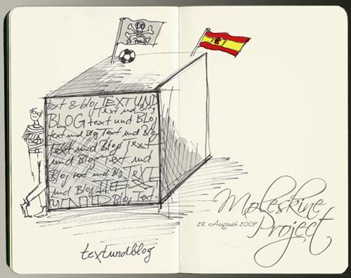 Moleskine-Zeichnung textundblog von Frau @Frauenfuss