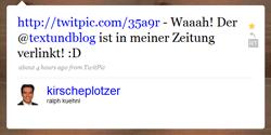 Tweet von Herrn Kirscheplotzer