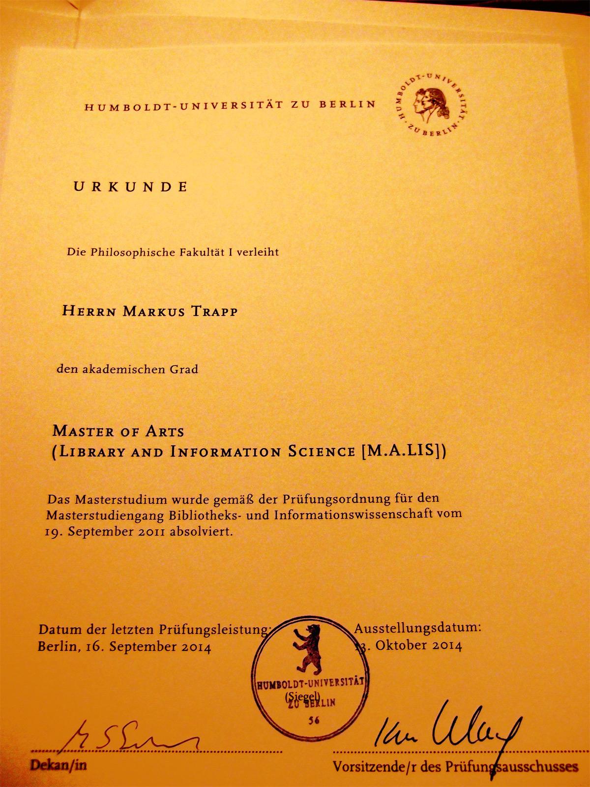 Zurück Aus Berlin Den Master In Der Tasche Text Blog