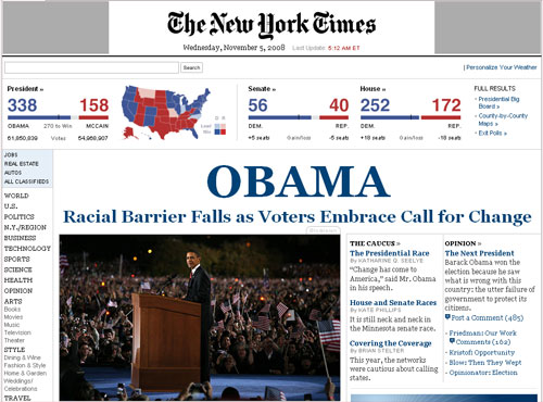 New Yorrk Times, 5.11.08: OBAMA Racial Barrier Falls as Voters Embrace Call for Change