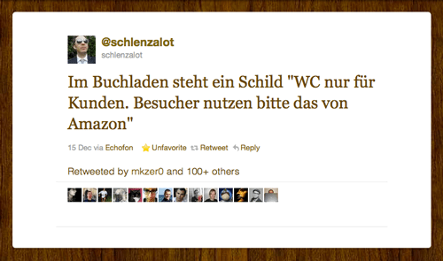 Tweet der Woche von @schlenzalot