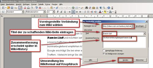 Sun Wiki Publisher schickt Texte von OpenOffice aus direkt ins Wiki