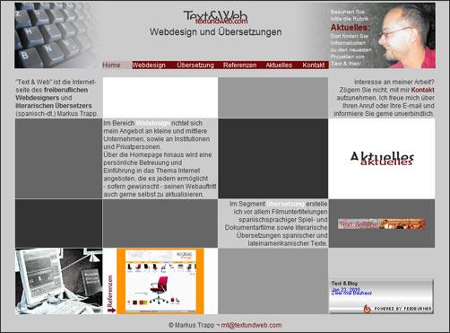 Text & Web - meine Website als freiberuflicher Übersetzer und Webdesigner