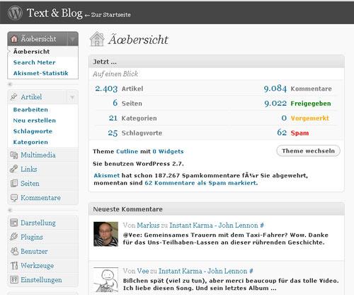 WordPress 2.7 - so sieht es jetzt im 'Innern' des Blogs aus