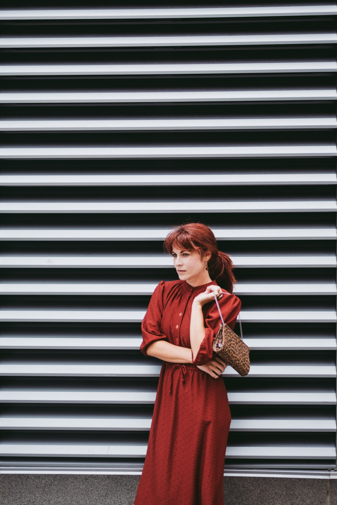 LEOPARD BAG, VINTAGE DRESS, RED HAIR