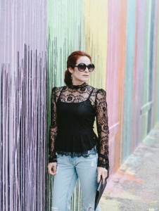 biscuit wall, distressed denim, black lace, black sunnies, mess