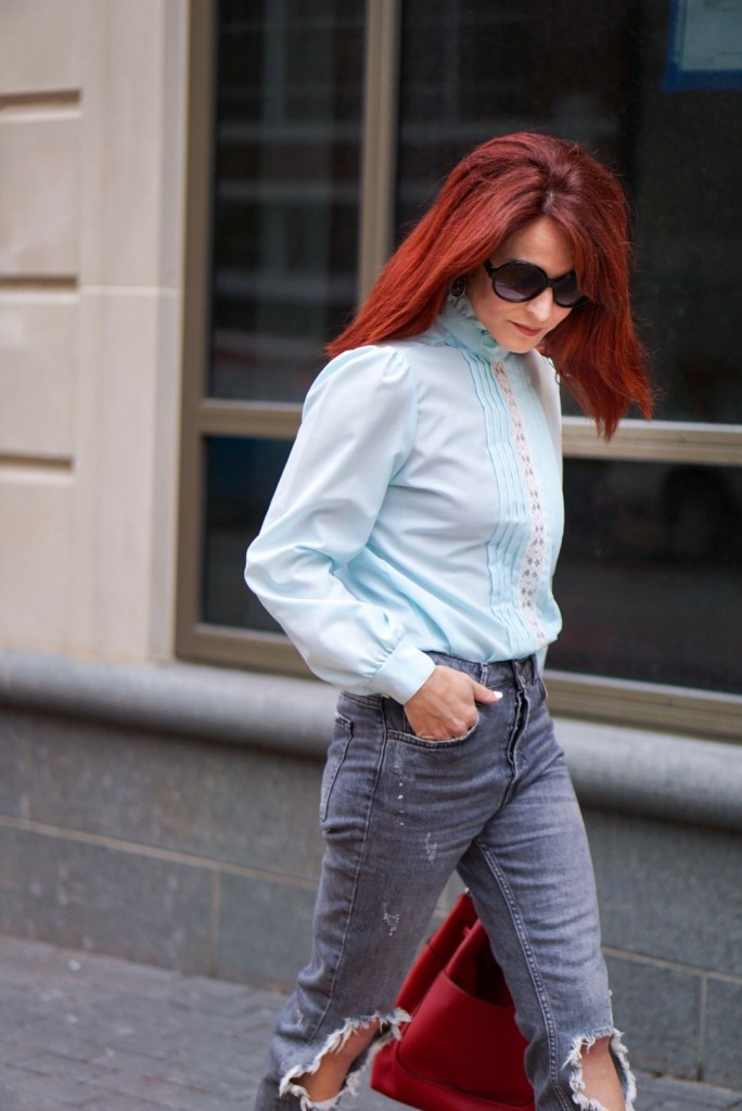 LACE TOP, GREY DENIM, RED HAIR, ROUND SUNGLASSES