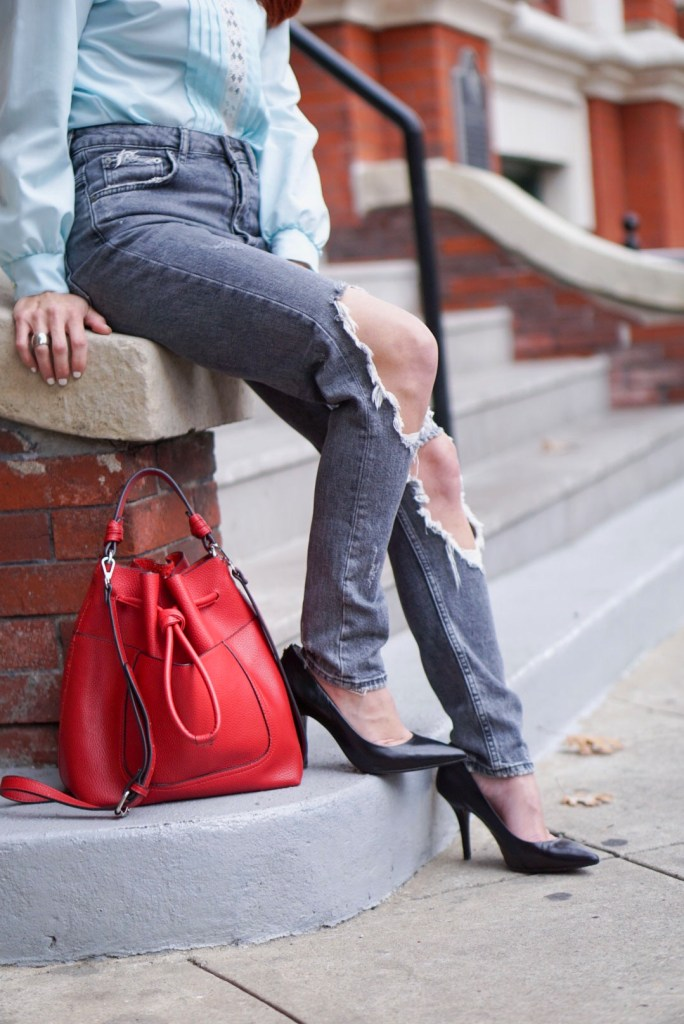 RED BUCKET BAG, ZARA, HIGH WAISTED DENIM, DISTRESSED, LACE