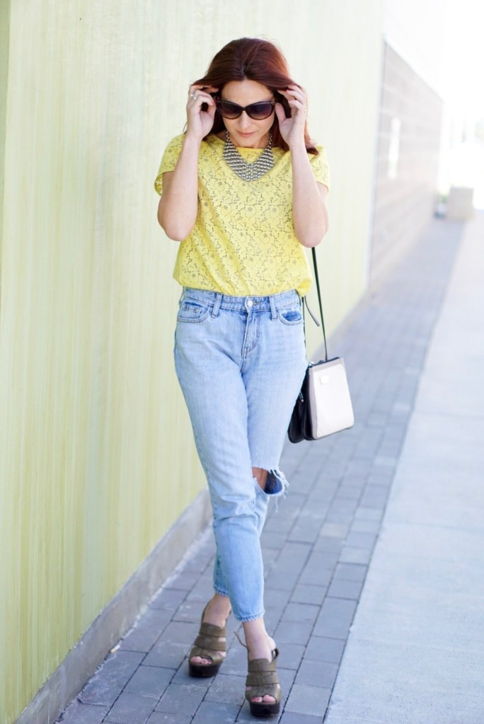 OLD NAVY HIGH WAISTED, YELLOW LACE TOP, OVERSIZED SUNNIES, BAYBROOK MALL