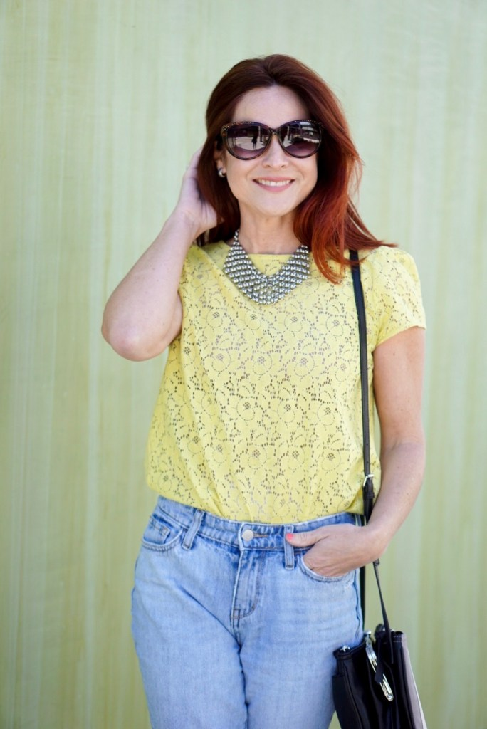 LOFT LACE TOP, BIB NECKLACE, HIGH WAISTED DENIM, SPRING YELLOW TOP
