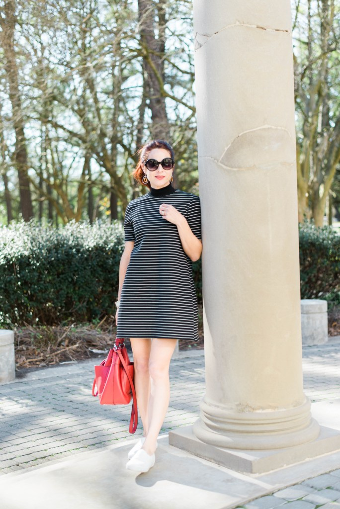 COMFORTABLE SPRING WEAR, STRIPED DRESS, HERMANN PARK, STYLISH MOM