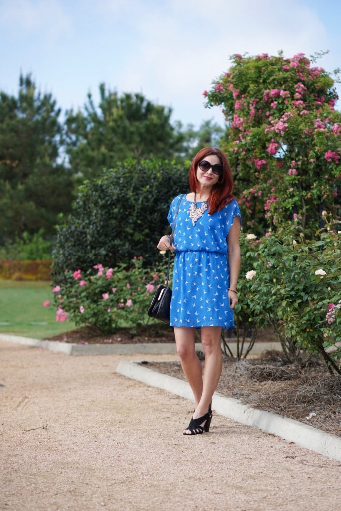 BLUE DRESS, EASTER OUTFIT, GARDENS, RED HAIR