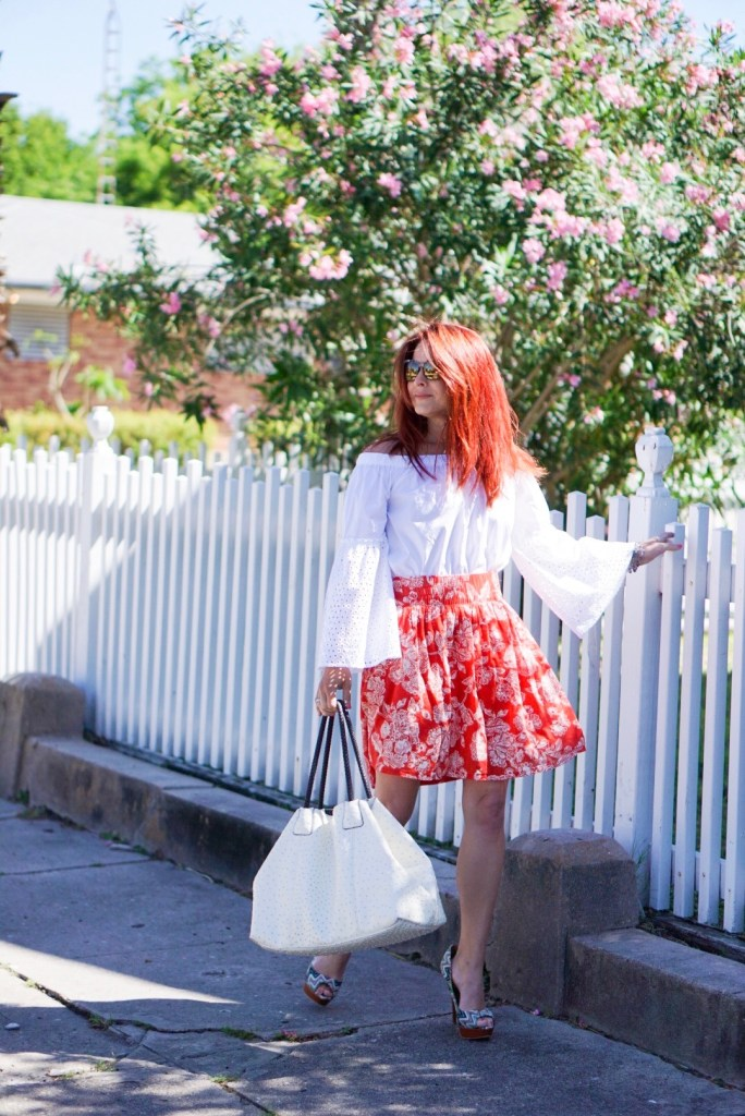 special needs mom, flare sleeves, white picket fence, cheveron heels, floral skirt, off the shoulder, red hair