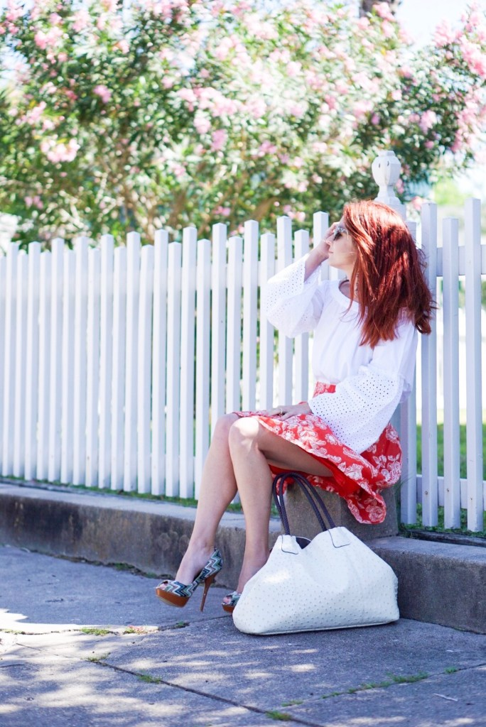 special needs, special needs mom, overcoming heartache, floral skirt, off the shoulder white top, white picket fence, white bag, cato, galverston island