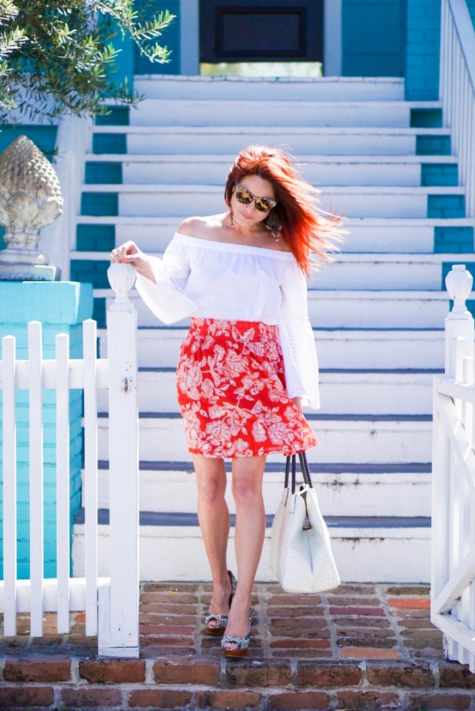 special needs parent, red floral skirt, old navy, white ots, who what wear, cato bag, white bag, cat eye sunnies