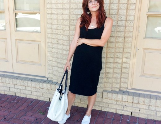 tank dress, sneakers, white handbag, old navy