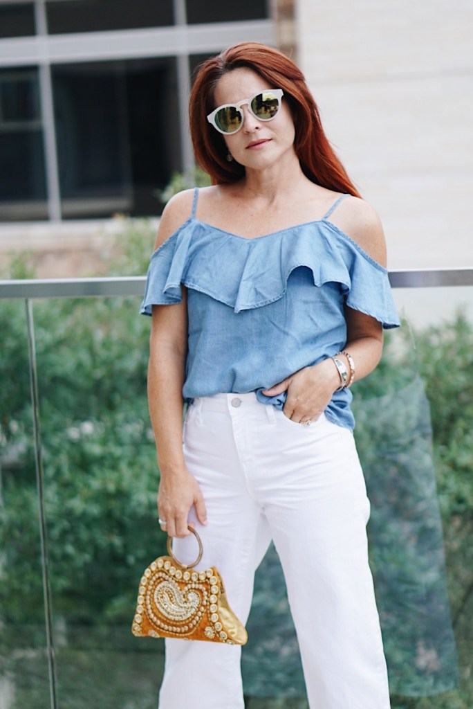 ruffled shirt, chambray shirt, vintage, jeweled bag, white denim