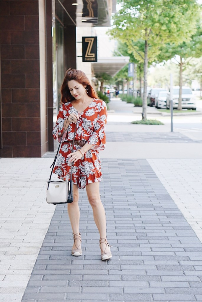 target style, who what wear, summer to fall outfit, romper with ruffles, ruffles, espadrille sandals