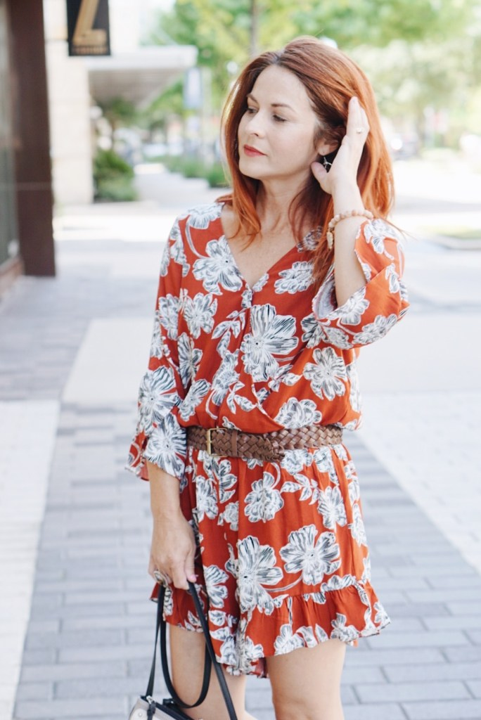 fall romper, romper with floral print, summer to fall outfit ideas, red hair inspiration
