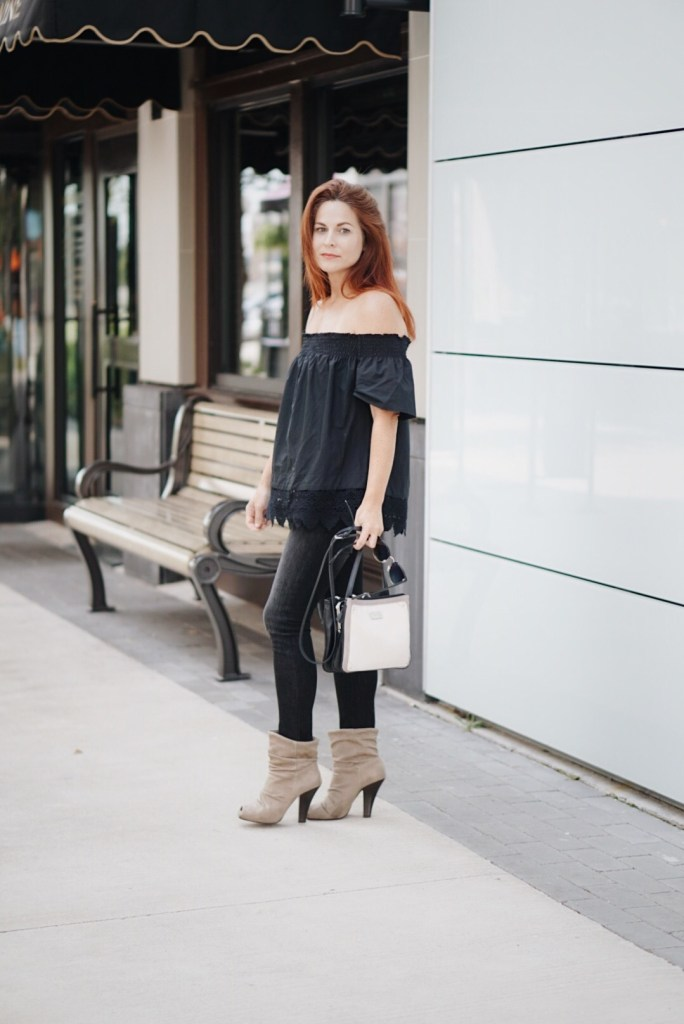 off the shoulder, casual chic, relaxed top, who what wear, taupe booties, nine west bag