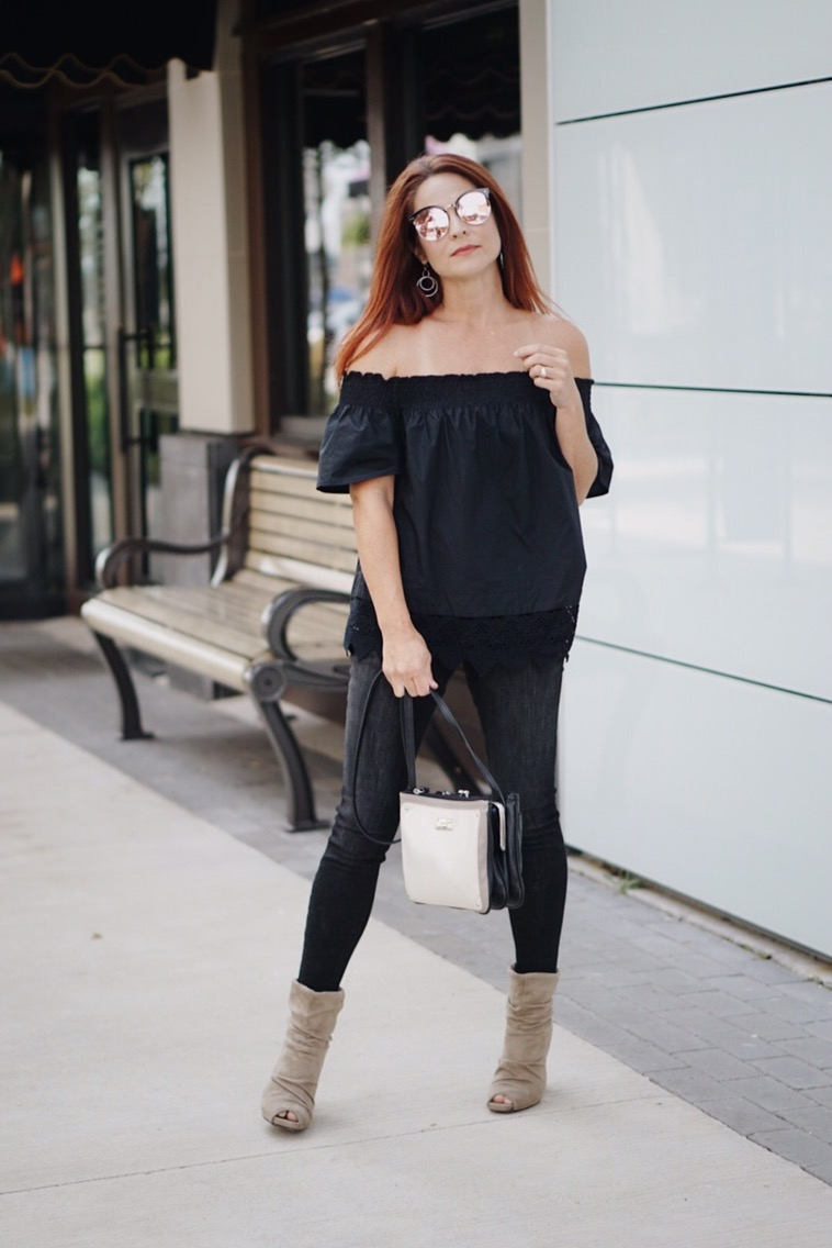 relaxed off the shoulder, black denim, target style, slouched boots, neutral bag