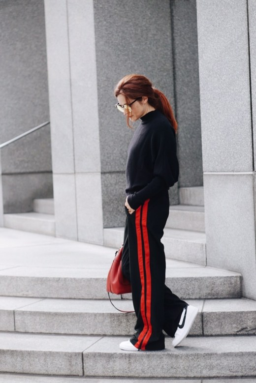 who what wear, wide leg track pant, sneakers, athleisure