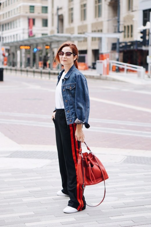casual street style, street wear, red bag, zara, jean jackets, track pants