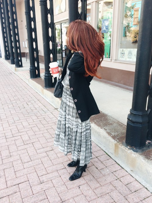 flowy dress with blazer, casual business outfit, red hair inspiration, black booties