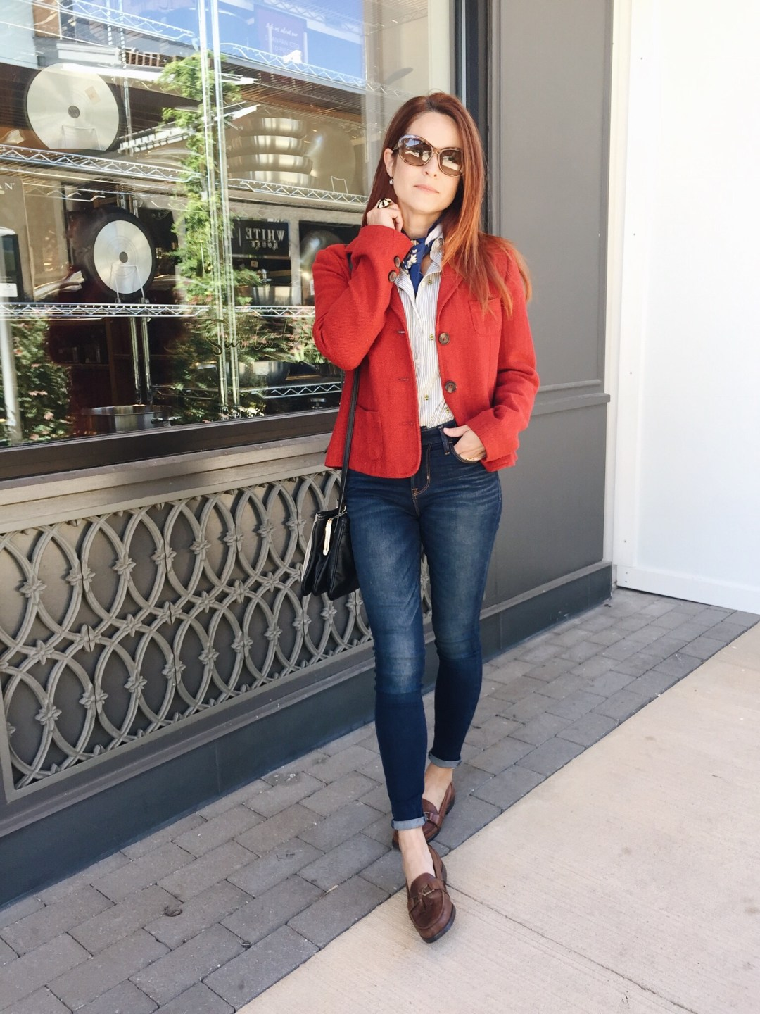 red blazer, silk scarf, brown loafers, skinny jeans, old navy shirt, business casual style