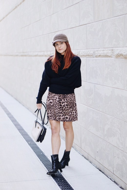 batwing sweater, zara, leopard dress, black boots, stuart weitzman, square bag, fiddler hat, hat with flower