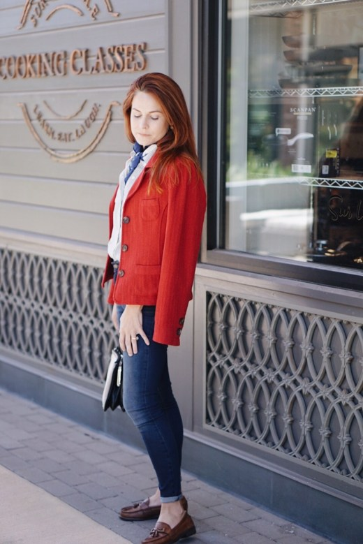 blazer with jeans, brown loafers