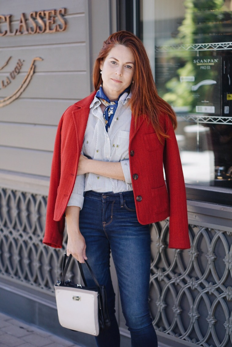 business casual style inspiration, high waisted denim, nine west bag, nautical silk scarf, bumble bee shirt, old navy