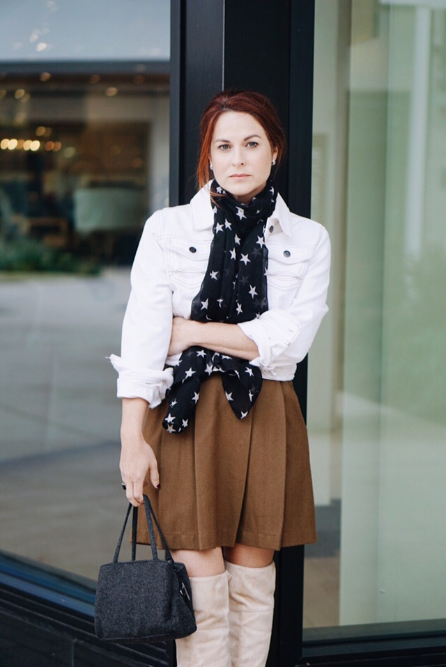 casual fall looks, over the knee boots with skirts, fall fashion, star prints, scarves, jean jacket, white denim