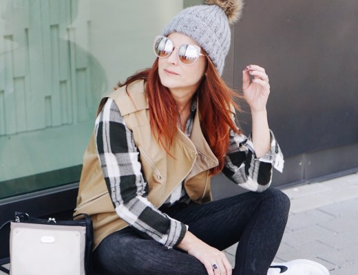 casual style, sneakers, nine west bag, square bag, black skinnies, pom pom beanie hat, plaid shirt, utility vest