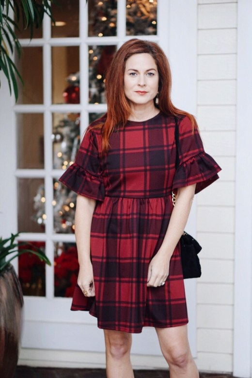 red plaid dress, babydoll dresses, ruffled dress, ruffle sleeves