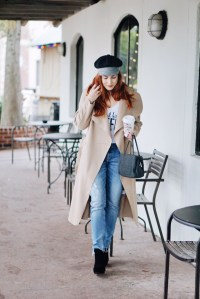 tweed baker boy hat, distressed denim, new years resolution, wool bag, ok but first coffee t-shirt, new years resolutions, goals