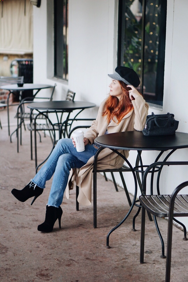 black booties, baker boy cap, small bags, coffee shop, red hair inspiration, distressed denim