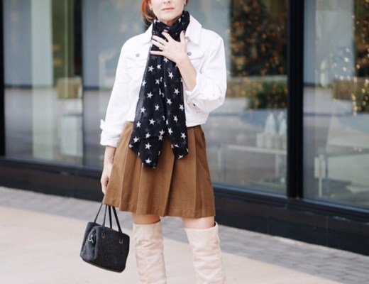 white jean jackets, olive skirt, star print scarves. suede tall boots