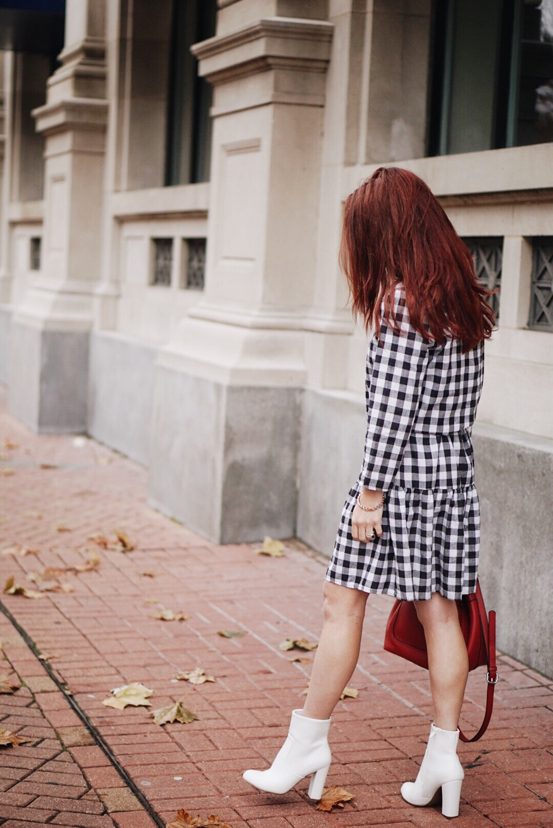 white boots, street style, casual dress, gingham, valentines day outfit ideas
