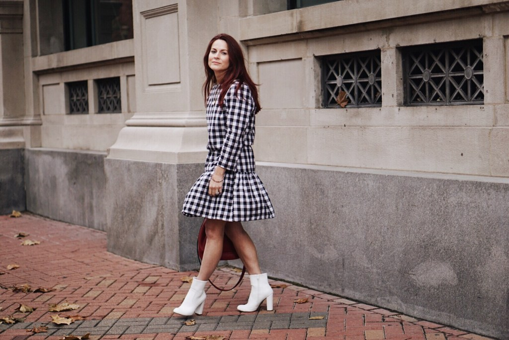 gingham dresses, dress with ruffles, white booties, red handbag, target style