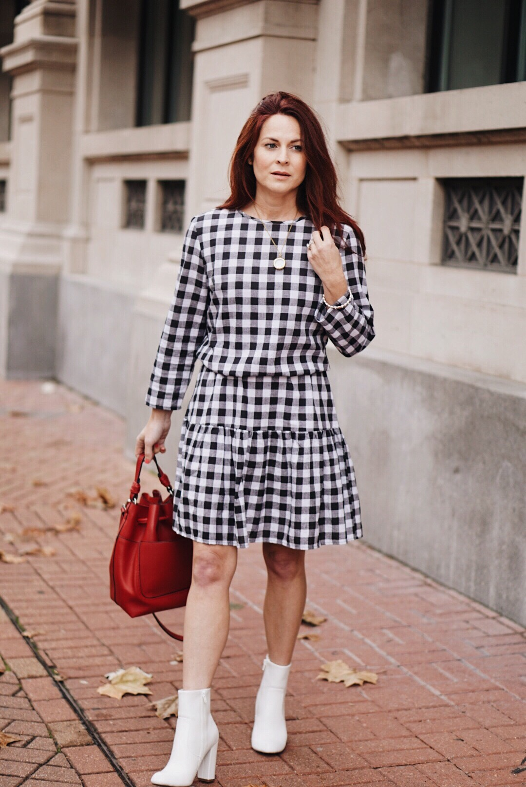 gingham, white booties, bucket bag, valentines outfit, casual dress, black and white outfit