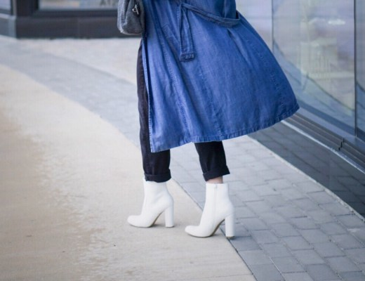 white boots, boots, target style, denim trench