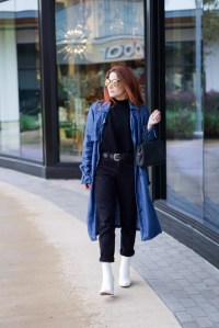 street style, trench coats, black pants, black sweater, white boots outfit