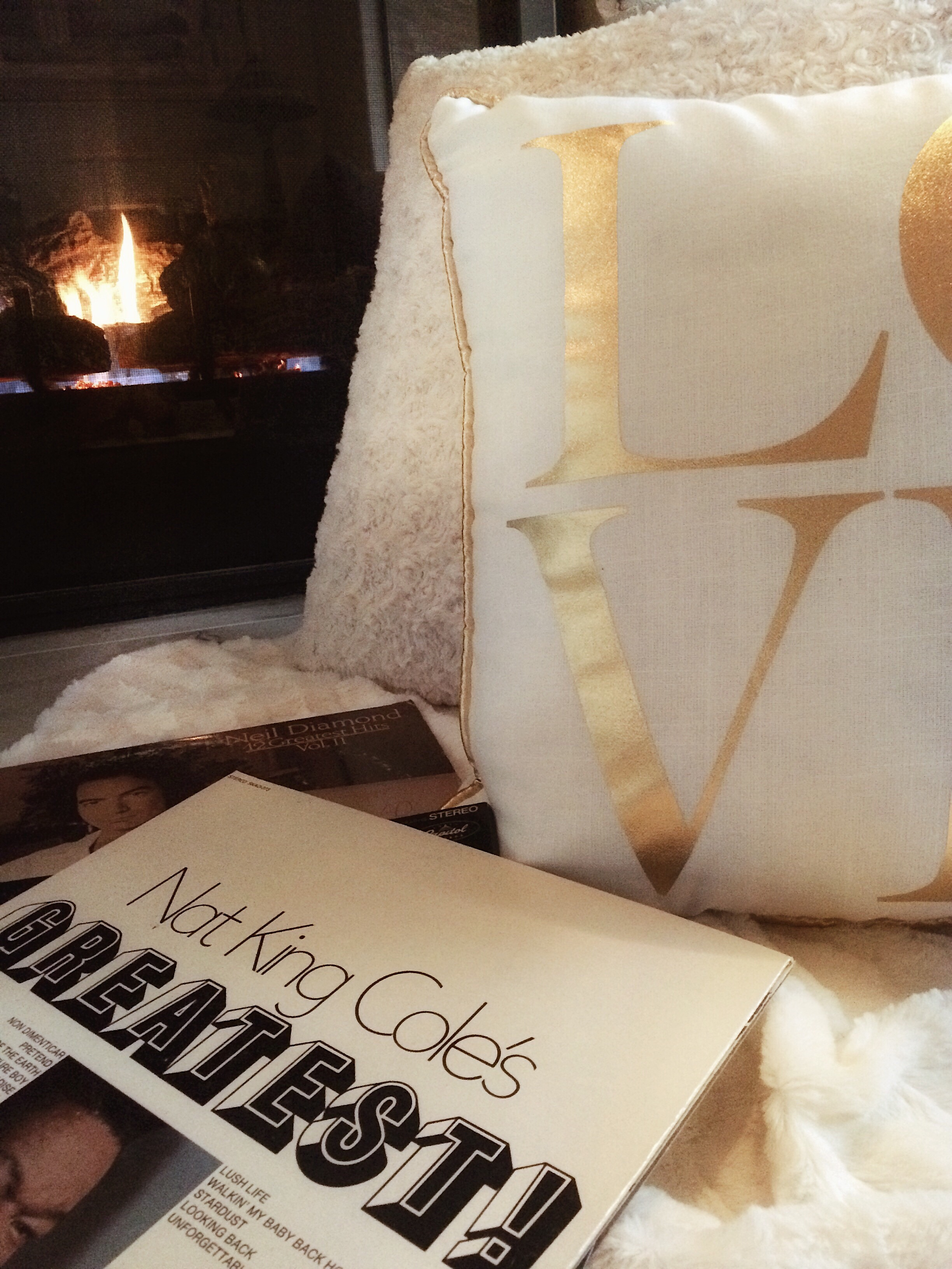 love pillow, nat king cole, valentines day, romantic, fireplace, music