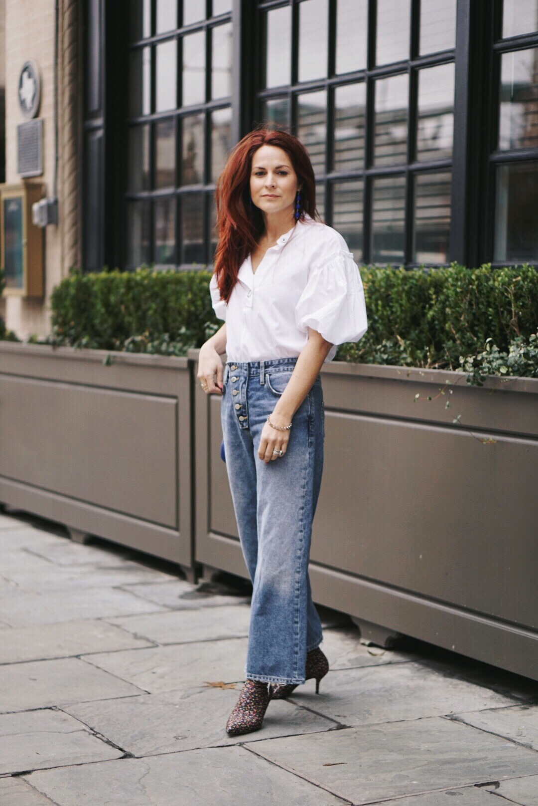 wide leg pant outfits, floral boots, puff sleeves, red hair inspiration, spring time